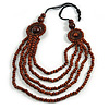 Layered Multistrand Brown Wood Bead Black Cord Necklace - 100cm L