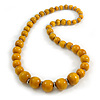 Dusty Yellow Graduated Wooden Bead Necklace - 70cm Long