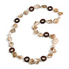 Antique White Shell, Brown Wood Ring and White Glass Beads Necklace - 80cm Long