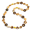 Antique Yellow Shell, Brown Wood Ring and Banana Yellow Glass Beads Necklace - 80cm Long