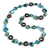 Teal Blue Shell, Brown Wood Ring and Light Blue Glass Beads Necklace - 80cm Long