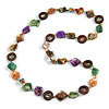 Multicoloured Shell, Brown Wood Ring and Glass Beads Necklace - 80cm Long
