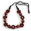 Long Red/ Black/ Gold Wood Floral Necklace On Black Cotton Cord - 84cm L Adjustable