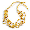 Multistrand Yellow Wood Beaded Cotton Cord Necklace - 80cm Length