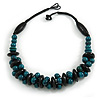 Teal/ Black Chunky Wood Bead Cotton Cord Necklace - 48cm Long