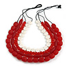 4 Strand Layered Resin Bead Black Cord Necklace In Red/ White - 66cm L
