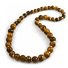 Animal Print Wooden Bead Necklace in Yellow/ Black - 76cm Long