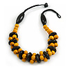 Yellow/ Black Chunky Wood Bead Cotton Cord Necklace - 48cm Long