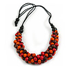 Chunky Orange/ Red/ Brown Wood Bead Black Cotton Cord Necklace - 68cm Length