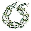 3 Strand Green/ Black Glass, Shell Bead and Semiprecious Stone Necklace - 66cm Length