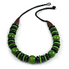 Chunky Beaded Cotton Cord Necklace (Black & Green) - 64cm L