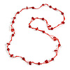 Delicate Ceramic Bead and Glass Nugget Cord Long Necklace In Red - 96cm Long