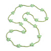 Long Acrylic Star Glass Bead Necklace in Mint Green - 104cm Long