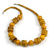Dusty Yellow Wood Button & Bead Chunky Necklace - 60cm Long