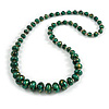 Long Graduated Wooden Bead Colour Fusion Necklace (Green/ Black/ Gold) - 78cm Long