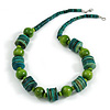 Green/ Lime Wood Button & Bead Chunky Necklace - 60cm Long