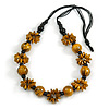 Long Yellow/ Black/ Gold Wood Floral Necklace On Black Cotton Cord - 84cm L Adjustable