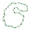 Delicate Ceramic Bead and Glass Nugget Cord Long Necklace In Green - 96cm Long