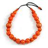 Statement Orange Wooden Bead Black Cord Necklace - 76cm Long