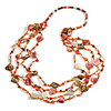 Long Multistrand Sea Shell/ Semiprecious Stone & Simulated Pearl Necklace in Orange/ Brown/ Coral - 96cm Length