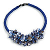 Stunning Glass Bead with Shell Floral Motif Necklace In Blue - 48cm Long