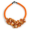 Stunning Glass Bead with Shell Floral Motif Necklace In Orange - 48cm Long