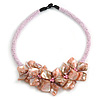 Stunning Glass Bead with Shell Floral Motif Necklace In Light Pink - 48cm Long