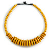 Dusty Yellow Button, Round Wood Bead Wire Necklace - 46cm L