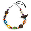 Multicoloured Bone and Wood Bead Black Cord Necklace - 80cm Long - Adjustable