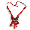 Tribal Wood/ Ceramic Bead Cotton Cord Necklace in Cherry Red/ Brown - 60cm Long/ 10cm Long Front Drop