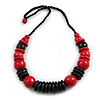 Statement Chunky Red/ Black Wood Bead with Black Cotton Cord Necklace - 60cm L