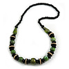 Black/ Green Wood Bead Necklace - 66cm Long
