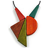 Red/ Brown/ Olive/ Orange Geometric Wood Pendant with Black Waxed Cotton Cord - 80cm Long/ 14cm Pendant