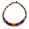 Multicoloured Button, Round Wood Bead Wire Necklace - 46cm L