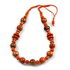 Orange/ Black Wood Bead Cotton Cord Necklace - 80cm Max Length - Adjustable