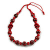 Red/ Black Wood Bead Cotton Cord Necklace - 80cm Max Length - Adjustable