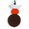 Brown/ Orange/ White Wood Bird and Bead Pendant with Black Cotton Cord - Adjustable - 84cm Long/ 11cm Pendant