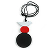 Black/ Red/ White Wood Bird and Bead Pendant with Black Cotton Cord - Adjustable - 84cm Long/ 11cm Pendant