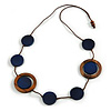Long Dark Blue/ Brown Round Bead Cotton Cord Necklace - 86cm Long - Adjustable