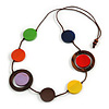 Multicoloured Coin Wood Bead Cotton Cord Necklace - 88cm Long - Adjustable