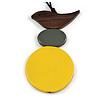 Yellow/ Brown/ Grey Wood Bird and Bead Pendant with Black Cotton Cord - Adjustable - 80cm Long/ 11cm Pendant