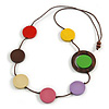 Multicoloured Coin Wood Bead Cotton Cord Necklace - 80cm Long - Adjustable