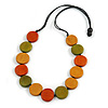 Worn Effect Orange/ Olive/ Light Brown Wood Button Bead Necklace with Black Cotton Cord - 74cm Long Adjustable