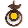 Brown/ Yellow Bird and Circle Wooden Pendant Cotton Cord Long Necklace - 84cm L/ 10cm Pendant