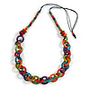 Multicoloured Wooden Ring and Bead Cotton Cord Long Necklace - 90cm L/ Adjustable