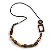Geometric Brown Wooden Bead Black Faux Leather Cord Long Necklace - 84cm L