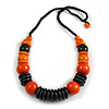 Orange/ Black Wood Bead Black Cord Necklace - 64cm L