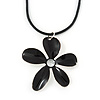 Black Enamel 'Daisy' Pendant With Waxed Cotton Cord In Silver Tone - 38cm Length/ 7cm Extension