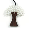 White Glass Bead/ Brown Wood Tree Of Life Pendant with Black Cotton Cord - 76cm L