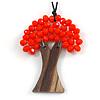 Bright Orange Glass Bead/ Brown Wood Tree Of Life Pendant with Black Cotton Cord - 76cm L